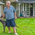 Harry Findlay at home with his dogs