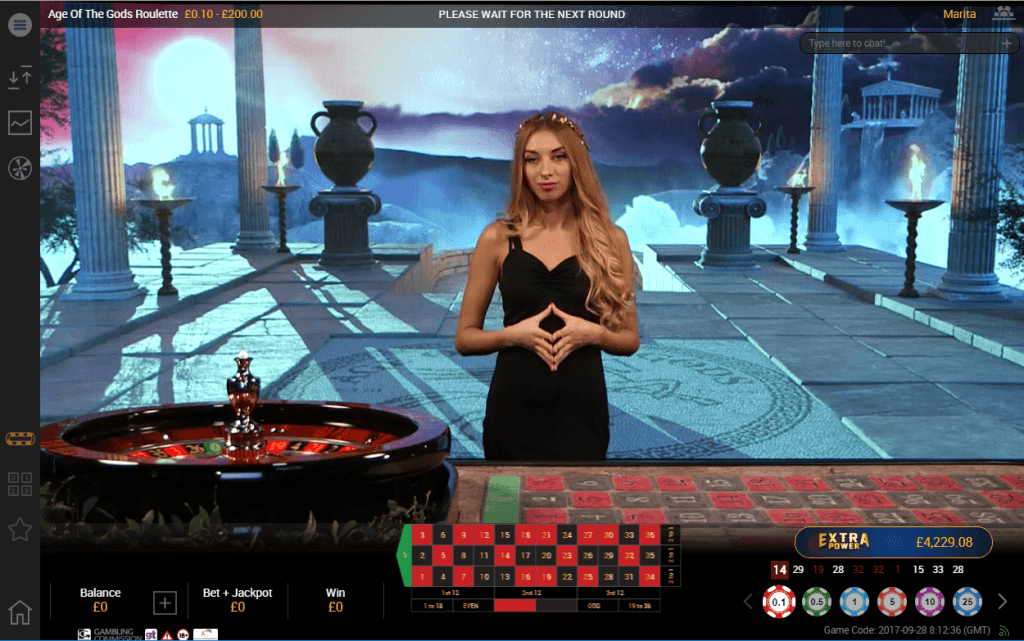 A screenshot of a Live Age of the Gods Roulette game being played at Betfair Casino