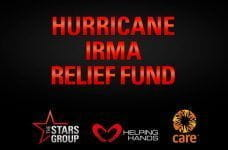 A promotional image for the PokerStars Hurricane Irma relief fund