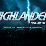 A promotional image for the Highlander movie slot game from Microgaming