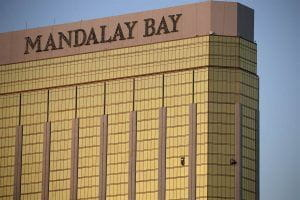 Mandalay Bay casino and its broken window from where the shooter fired