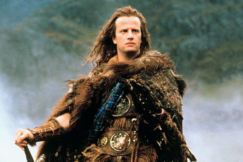 Christopher Lambert as Connor MacLeod in the 1986 film, Highlander
