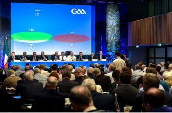 The GAA congress taking a vote to ban gambling sponsorship.