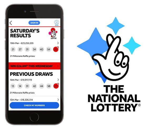 The National Lottery app on mobile.