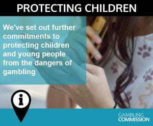Twitter post from UK Gambling Commission that announces their new commitments to combating childhood gambling.