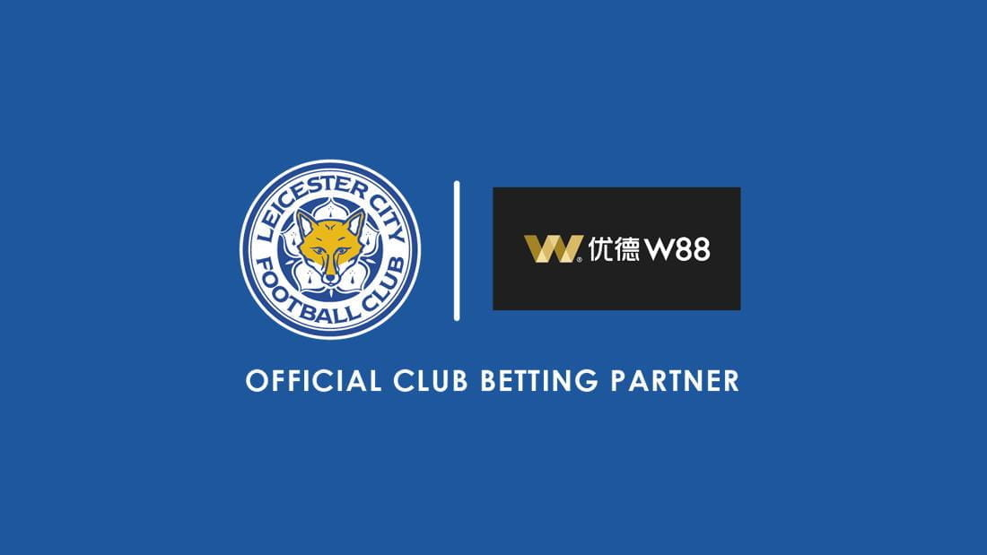 The W88 logo and the Leicester City Football Club logo.