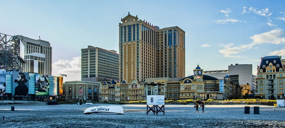 View of Atlantic City, NJ, with Caesars Palace in the background.
