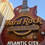 A view of the entrance to the Hard Rock Hotel & Casino in Atlantic City.