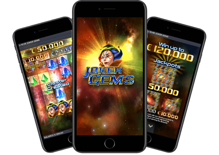 Three smart phones featuring stills from the ELK Studios Joker Gems slot game
