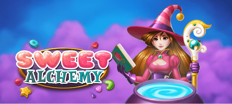 Image showing the witch main character of the Sweet Alchemy slot game from Play'n GO.