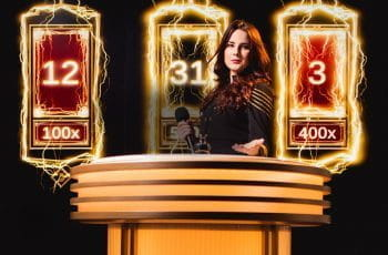 A promotional image for Lightning Roulette Showing a live dealer behind a podium surrounded by lightning effects.