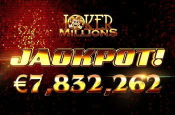 Yggdrasil progressive jackpot slot, Joker Millions paid a prize pool of €7,832,262.