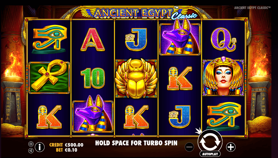 the Ancient Egypt Classic slot game shows thematically-appropriate symbols such as Cleopatra and an ankh.