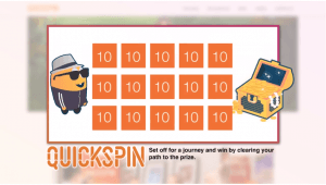 A look at the mini-game promotional tool Challenges from Quickspin, with a yellow character and orange numbered boxes.