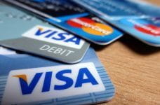 Credit and debit cards from Visa and Mastercard.