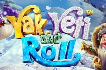 A promotional title card for the Betsoft slot game, Yak, Yeti and Roll