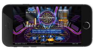 The Who Wants to Be a Millionaire Megaways slot game being played on a mobile phone.