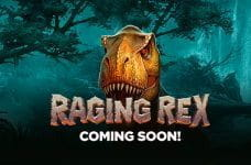 Play'n GO's Raging Rex logo featuring the head of the t-rex.