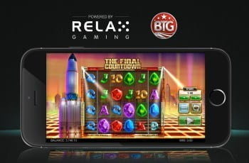 The Final Countdown slot game from Big Time Gaming on a mobile device.