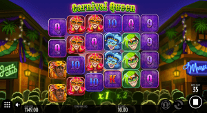 In-game action from the Carnival Queen slot game.