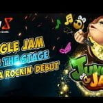 Promotional title card for the Jungle Jam slot from Genesis Gaming
