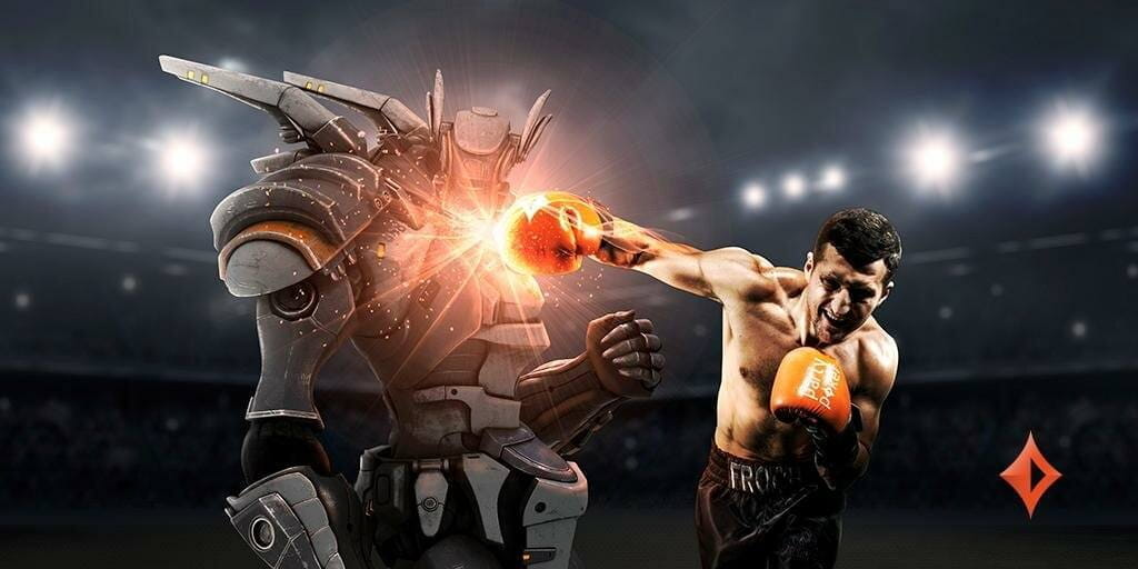 A boxer wearing partypoker-branded gloves, punches a robot.
