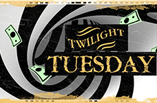 The text Twilight Tuesday hovering next to a closed door.