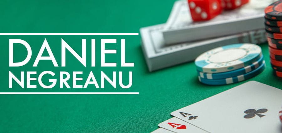 Daniel Negreanu's name on a poker table.
