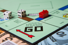 A close-up of a Monopoly board game.