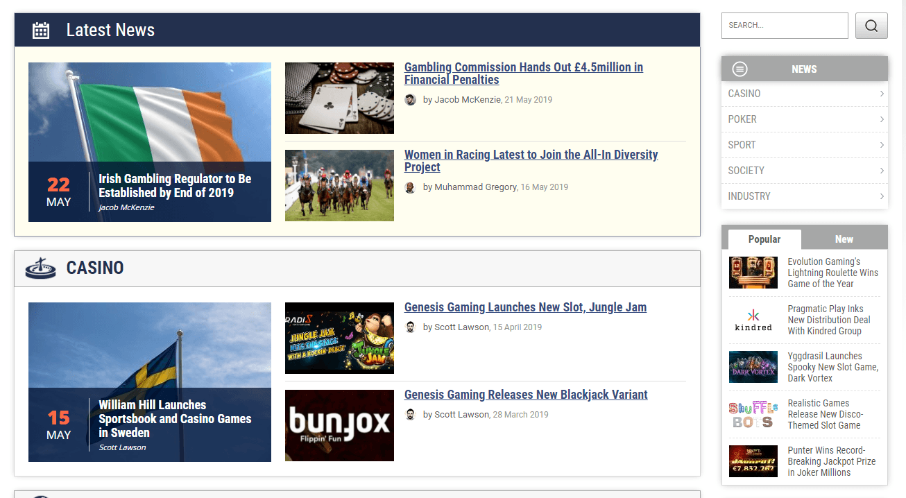 A screenshot of the new news section on Online-Casinos.com.
