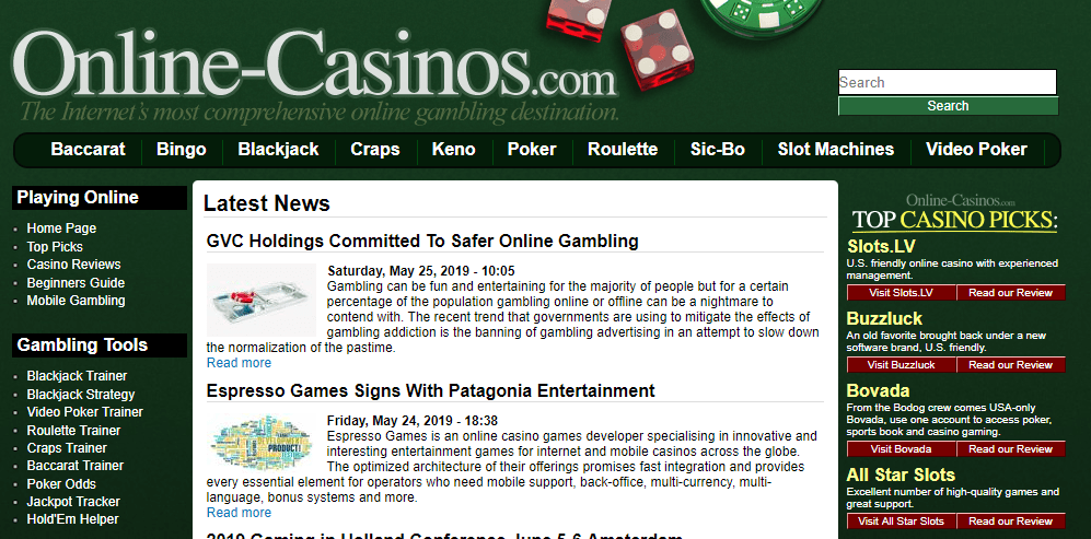 The old news section on Online-Casinos.com.
