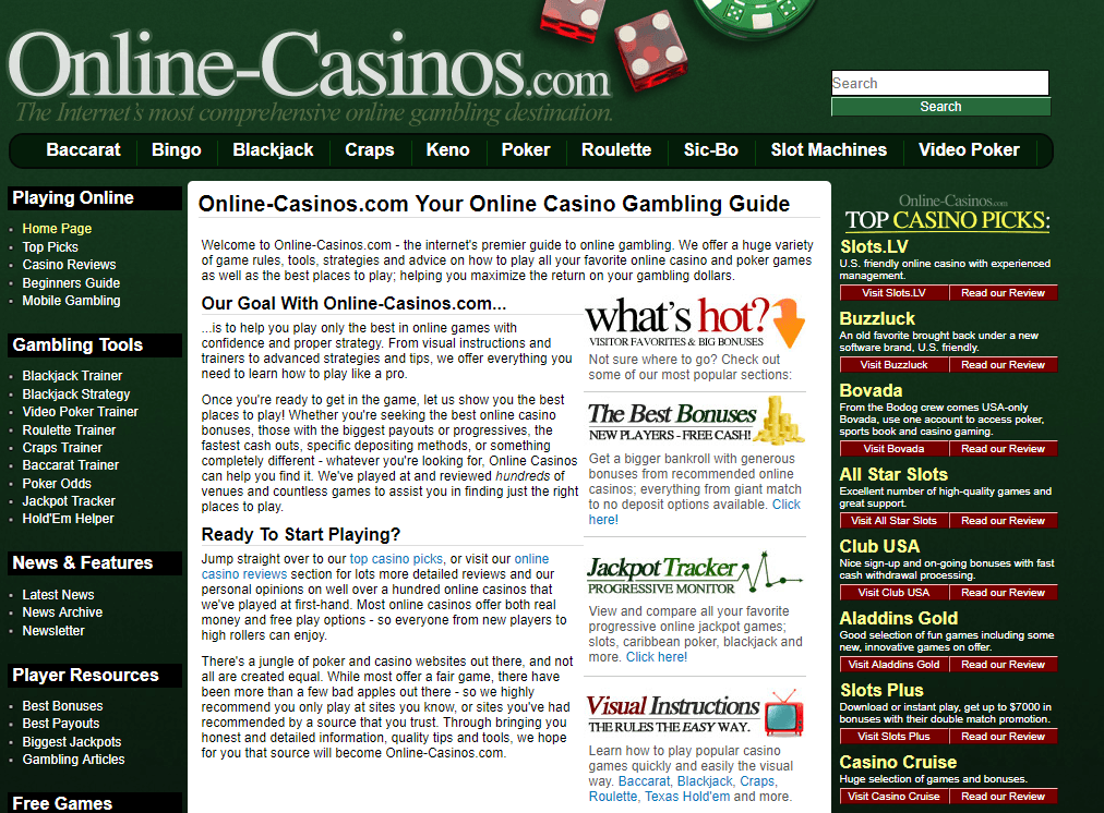 An image of the old Online-Casinos.com.