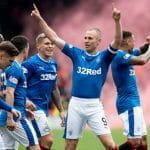 The Rangers kit with 32Red sponsorship visible on the front.