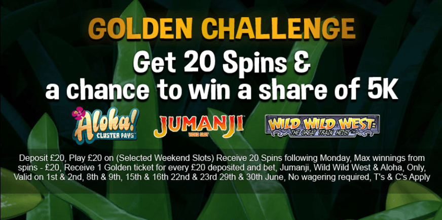 Get 20 spins and a chance to win 5k with the Golden Challenge.