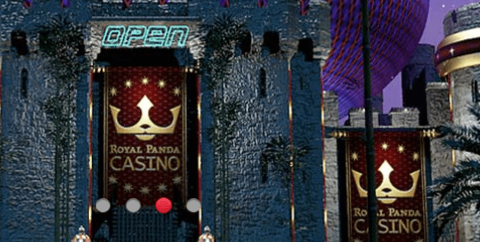 A door to a casino with the Royal Panda brand on it.