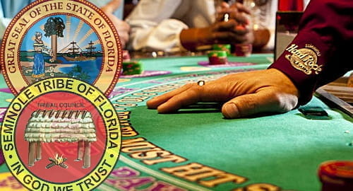 Alt Text: Badges of Florida state and Seminole tribe over a blackjack table.