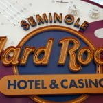 A sign from the Seminole tribe's Hard Rock Casino.