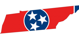 Shape of Tennessee state coloured with the flag.