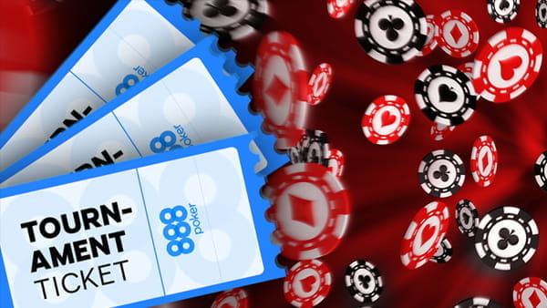 888poker tournament tickets on poker chip background