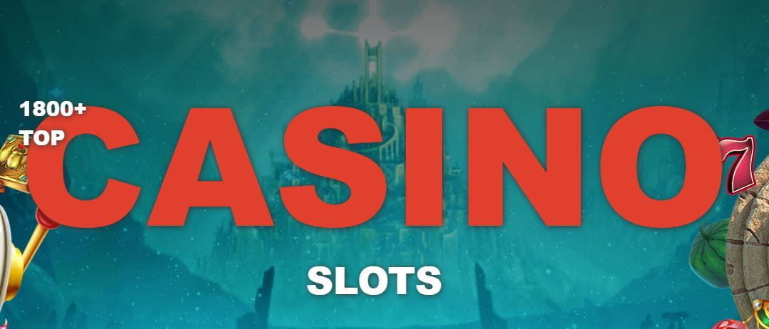 The word casino hovering on a slots background.
