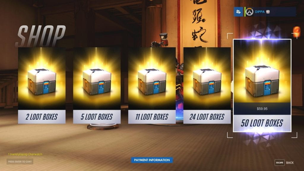 Video game loot boxes.