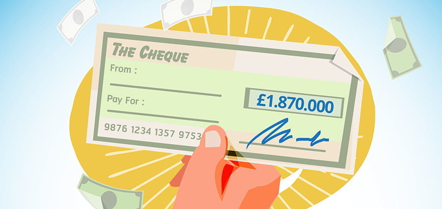 A close up of a check for £1,870,000.