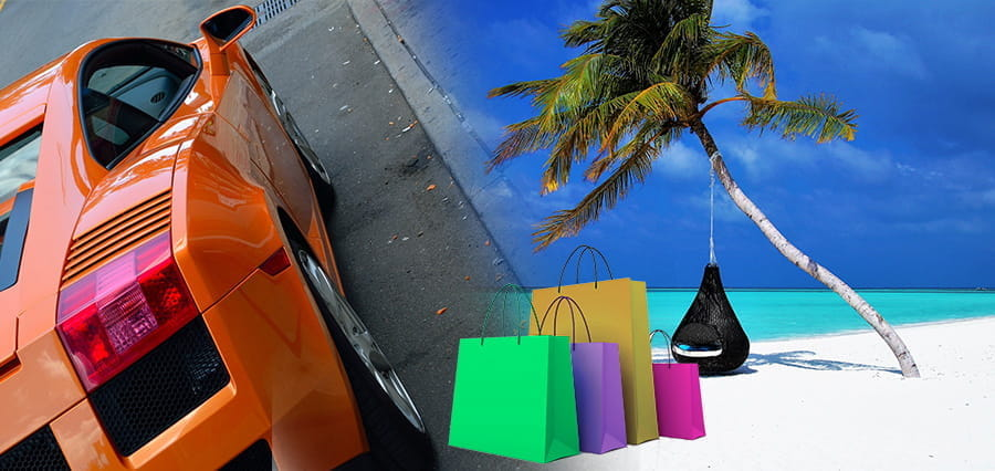 Collage of a sports car, exotic location and shopping bags.