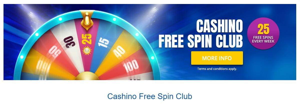 The Cashino Free Spin Club promotion.