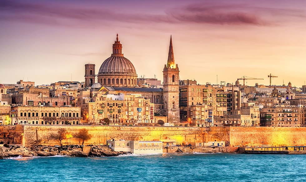 Malta, as seen from the sea.