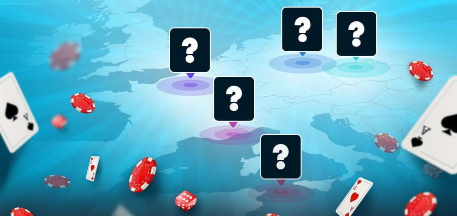 A map of Europe with question marks hovering over some cities.
