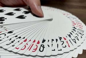A deck of cards fanned out.
