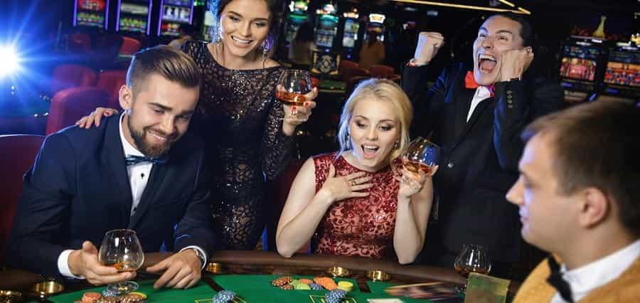 Players at a gambling table.