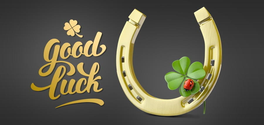 "A horse shoe, ladybird, four-leaf clover and the words ""good luck"","