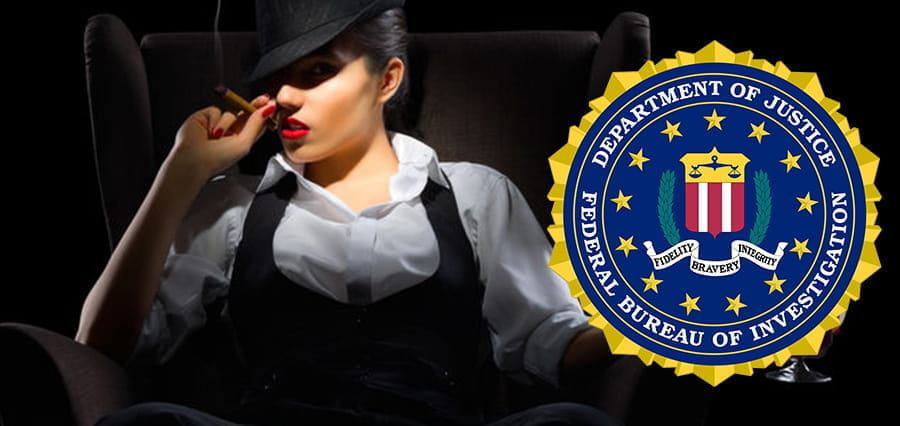 The FBI logo and a woman smoking a cigar.